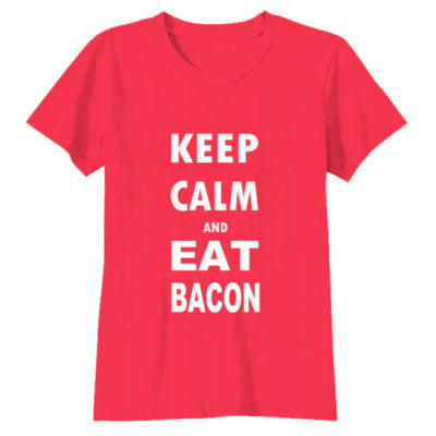 Keep Calm And Eat Bacon - Youth Girls Short Sleeve T-Shirt S-Red- Cool Jerseys - 1