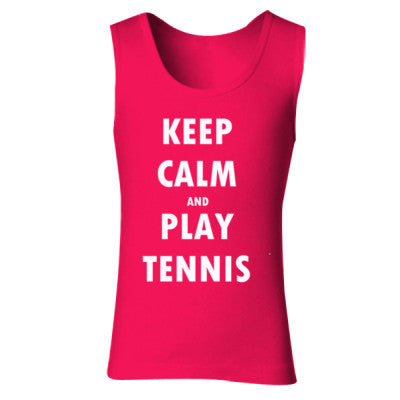 Keep Calm And Play Tennis - Ladies' Soft Style Tank Top S-Cherry Red- Cool Jerseys - 1