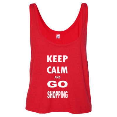 Keep Calm And Go Shopping - Ladies' Cropped Tank Top S-Red- Cool Jerseys - 1