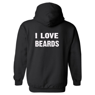 I Love Beards Heavy Blend™ Hooded Sweatshirt BACK ONLY S-Black- Cool Jerseys - 1