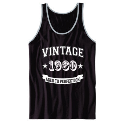 Vintage 1960 Aged To Perfection - Unisex Jersey Tank XS-Black- Cool Jerseys - 1