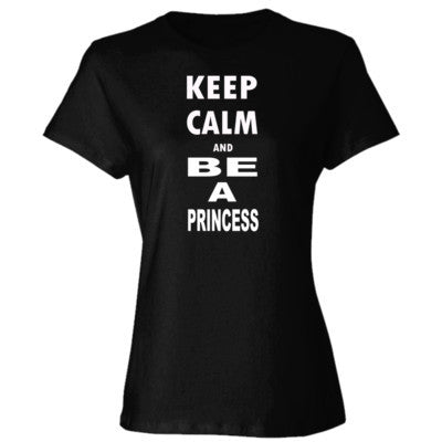 Keep Calm and Be a Princess - Ladies' Cotton T-Shirt S-Black- Cool Jerseys - 1