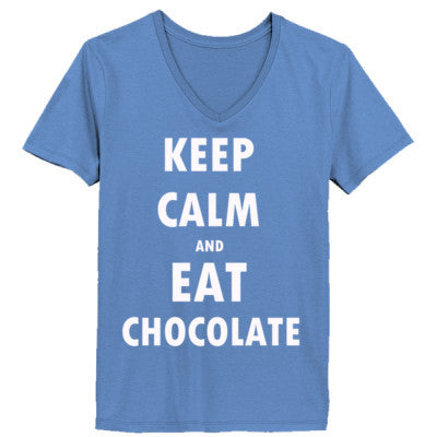 Keep Calm And Eat Chocolate - Ladies' V-Neck T-Shirt XS-Vintage Blue- Cool Jerseys - 1