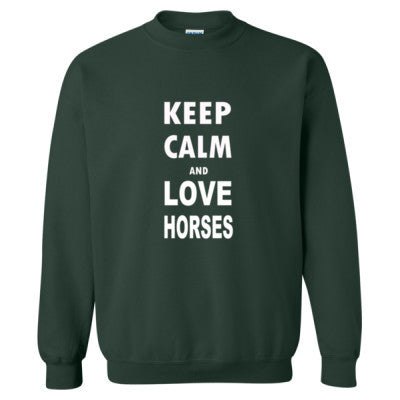 Keep Calm And Love Horses - Heavy Blend™ Crewneck Sweatshirt S-Forest- Cool Jerseys - 1