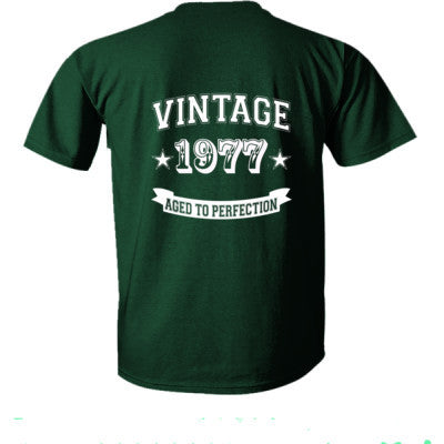 Vintage 1977 Aged To Perfection tshirt - Ultra-Cotton T-Shirt Back Print Only S-Forest- Cool Jerseys - 1