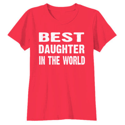 Best Daughter In The World - Youth Girls Short Sleeve T-Shirt S-Red- Cool Jerseys - 1