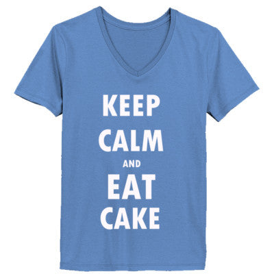 Keep Calm And Eat Cake - Ladies' V-Neck T-Shirt XS-Vintage Blue- Cool Jerseys - 1