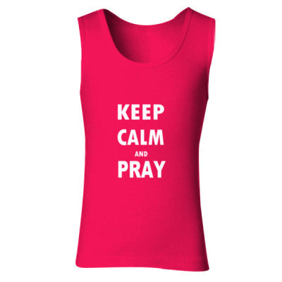 Keep Calm And Pray - Ladies' Soft Style Tank Top S-Cherry Red- Cool Jerseys - 1