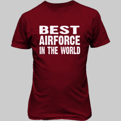 Best Airforce In The World - Unisex T-Shirt FRONT Print S-Cardinal Red- Cool Jerseys - 1