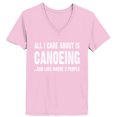 All i Care About Canoeing And Like Maybe Three People tshirt - Ladies' V-Neck T-Shirt XS-Pale Pink- Cool Jerseys - 1