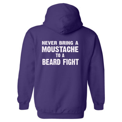 Never Bring A Moustache To A Beard Fight Heavy Blend™ Hooded Sweatshirt BACK ONLY S-Purple- Cool Jerseys - 1