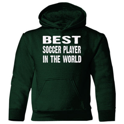 Best Soccer Player In The World - Heavy Blend Children's Hooded Sweatshirt - Front and Back Print S-Forest Green- Cool Jerseys - 1