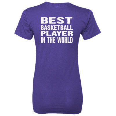 Best Basketball Player In The World - Ladies' 100% Ringspun Cotton nano-T® Back Print Only S-Purple- Cool Jerseys - 1