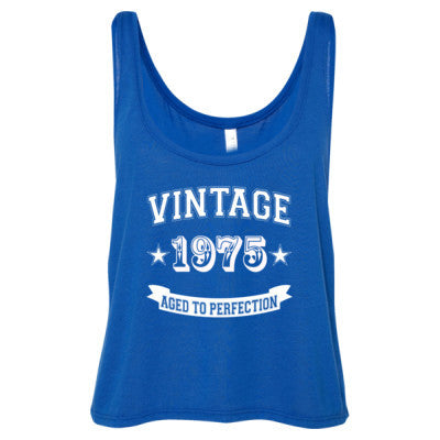 Vintage 1975 Aged To Perfection tshirt - Ladies' Cropped Tank Top S-True Royal- Cool Jerseys - 1