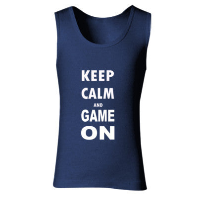 Keep Calm And Game On - Ladies' Soft Style Tank Top S-Navy- Cool Jerseys - 1