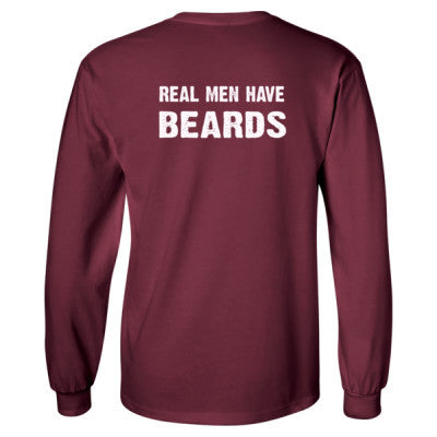 Real Men Have Beards tshirt - Long Sleeve T-Shirt - BACK PRINT ONLY S-Maroon- Cool Jerseys - 1