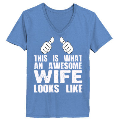 My Wife Is Awesome - Ladies' 4.5 oz., 100% Ringspun Cotton nano-T® V-Neck T-Shirt - Cool Jerseys - 1