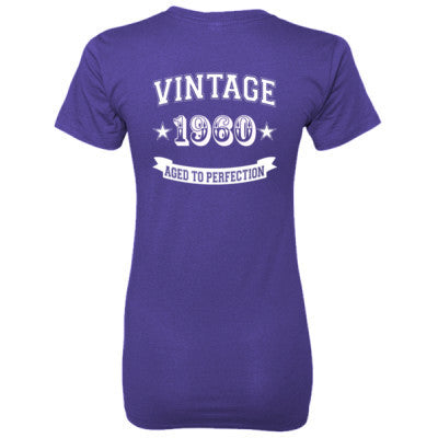 Vintage 1960 Aged To Perfection - Ladies' 100% Ringspun Cotton nano-T® Back Print Only S-Purple- Cool Jerseys - 1