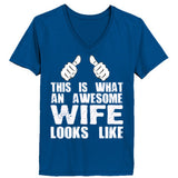 My Wife Is Awesome - Ladies' 4.5 oz., 100% Ringspun Cotton nano-T® V-Neck T-Shirt - Cool Jerseys - 4