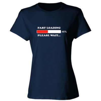 Fart Loading Please Wait - Ladies' Cotton T-Shirt S-Navy- Cool Jerseys - 1
