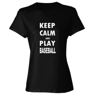 Keep Calm And Play Baseball - Ladies' Cotton T-Shirt S-Black- Cool Jerseys - 1
