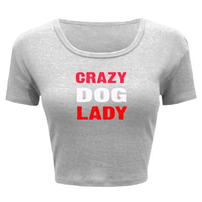 Crazy Dog Lady tshirt - Ladies' Crop Top XS/S-White- Cool Jerseys - 1
