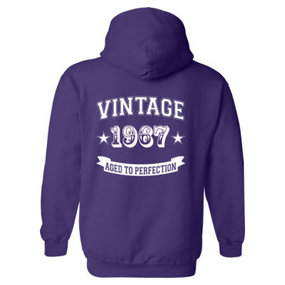 Vintage 1967 Aged To Perfection - Heavy Blend™ Hooded Sweatshirt BACK ONLY S-Purple- Cool Jerseys - 1
