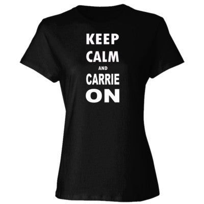 Keep Calm and Carrie On - Ladies' Cotton T-Shirt S-Black- Cool Jerseys - 1