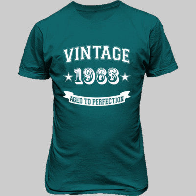 Vintage 1963 Aged To Perfection - Unisex T-Shirt FRONT Print S-Galapogos Blue- Cool Jerseys - 1