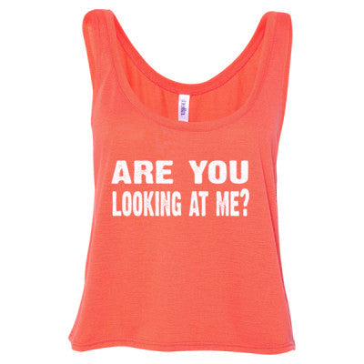 Are you looking at me tshirt - Ladies' Cropped Tank Top S-Coral- Cool Jerseys - 1