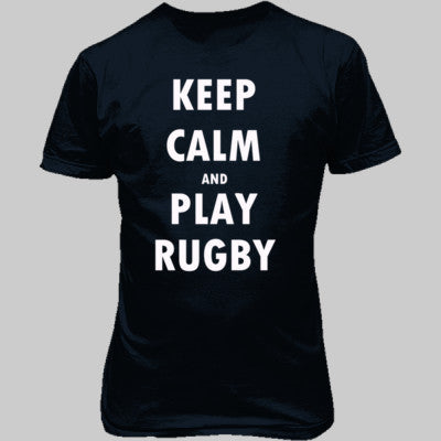 Keep Calm And Play Rugby - Unisex T-Shirt FRONT Print - Cool Jerseys - 1