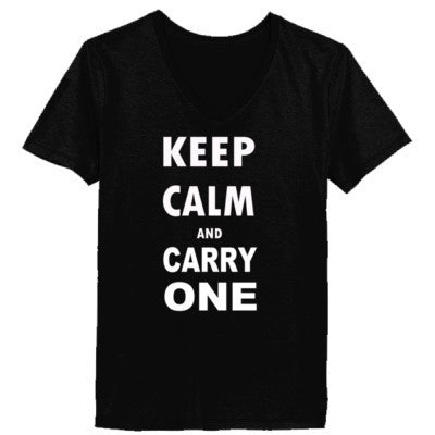 Keep Calm and Carry One - Ladies' V-Neck T-Shirt XS-Black- Cool Jerseys - 1