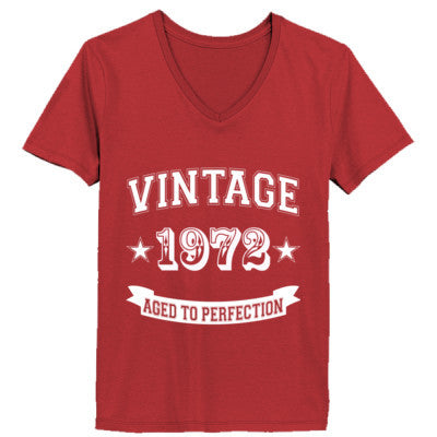 Vintage 1972 Aged To Perfection tshirt - Ladies' V-Neck T-Shirt XS-Vintage Red- Cool Jerseys - 1