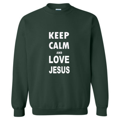 Keep Calm And Love Jesus - Heavy Blend™ Crewneck Sweatshirt S-Forest- Cool Jerseys - 1