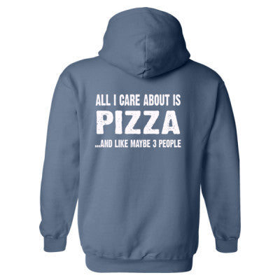 All i Care About Is Pizza Heavy Blend™ Hooded Sweatshirt BACK ONLY S-Indigo Blue- Cool Jerseys - 1