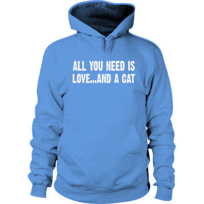 All you need is love and a cat Hoodie S-Carolina Blue- Cool Jerseys - 1