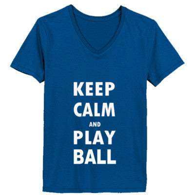 Keep Calm And Play Ball - Ladies' V-Neck T-Shirt - Cool Jerseys - 1