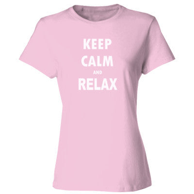 Keep Calm And Relax - Ladies' Cotton T-Shirt S-Pale Pink- Cool Jerseys - 1