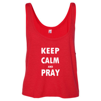 Keep Calm And Pray - Ladies' Cropped Tank Top S-Red- Cool Jerseys - 1