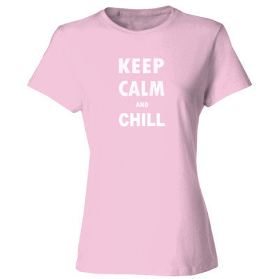 Keep Calm And Chill - Ladies' Cotton T-Shirt S-Pale Pink- Cool Jerseys - 1
