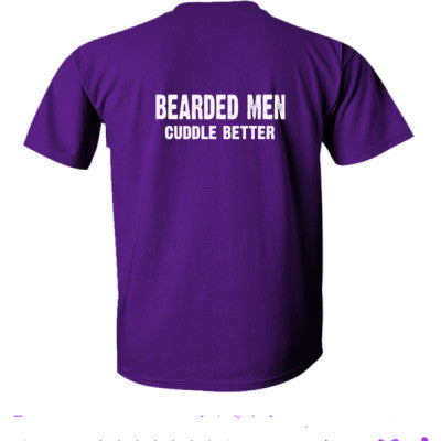 Bearded Men Cuddle Better tshirt - Ultra-Cotton T-Shirt Back Print Only S-Purple- Cool Jerseys - 1