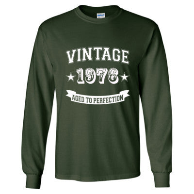 Vintage 1976 Aged To Perfection tshirt - Long Sleeve T-Shirt S-Forest Green- Cool Jerseys - 1
