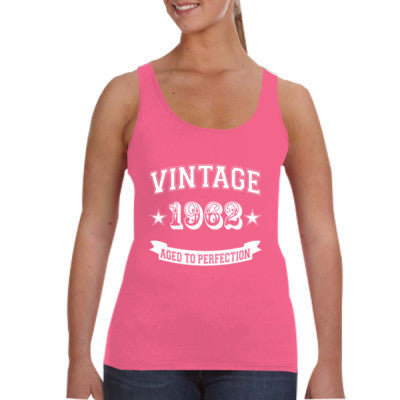 Vintage 1962 Aged To Perfection - Ladies Tank Top S-Hot Pink- Cool Jerseys - 1
