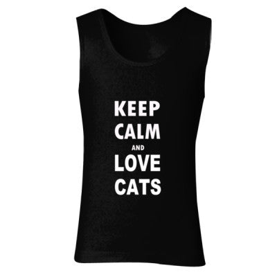 Keep Calm And Love Cats - Ladies' Soft Style Tank Top S-Black- Cool Jerseys - 1