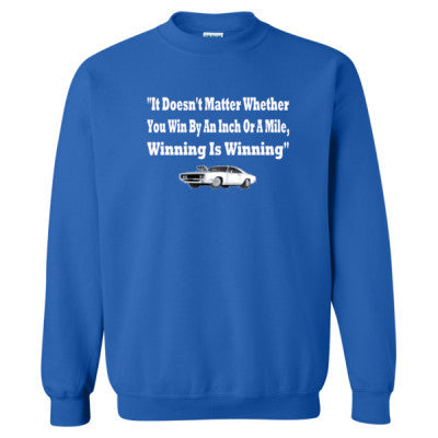 It Doesnt Matter Whether You Win By An Inch Or A Mile Winning Is Winning - Heavy Blend™ Crewneck Sweatshirt S-Royal- Cool Jerseys - 1