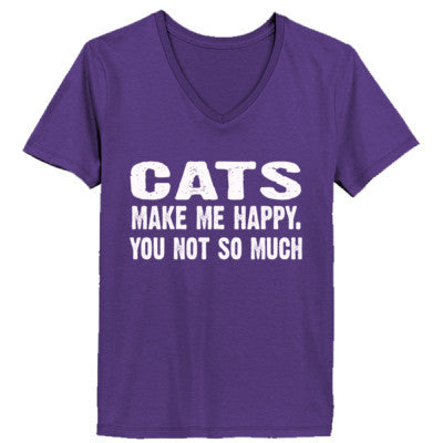 Cats Make me happy, you not so much tshirt - Ladies' V-Neck T-Shirt XS-Purple- Cool Jerseys - 1