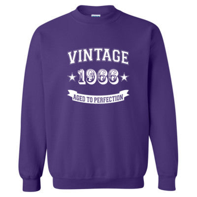 Vintage 1966 Aged To Perfection - Heavy Blend™ Crewneck Sweatshirt S-Purple- Cool Jerseys - 1