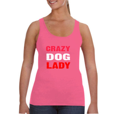 Crazy Dog Lady tshirt - Ladies Tank Top S-Hot Pink- Cool Jerseys - 1