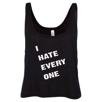 I hate everyone tshirt - Ladies' Cropped Tank Top S-Black- Cool Jerseys - 1