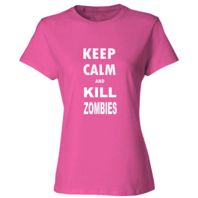 Keep Calm And Kill Zombies - Ladies' Cotton T-Shirt S-Wow Pink- Cool Jerseys - 1
